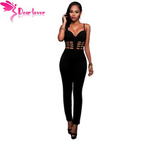 Dear-Lover Fall Sexy Club Rompers Black Spaghetti Strap Bustier Padded Bodycon Jumpsuit Overalls for Women Macacao Longo LC64126