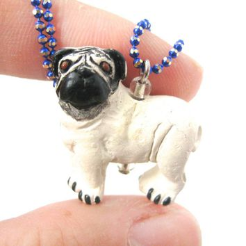 Pug Puppy Dog Shaped Porcelain Ceramic Animal Pendant Necklace | Handmade