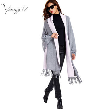 Young17 2016 autumn female fashion tassel cardigan black all-match gray warm slim long sleeve open cape knitted cardigans female