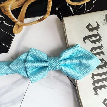 Tiffany Blue Bow Tie - Tiffany Blue Pointed Bow Tie - Tiffany Blue Elastic Suspenders - Wedding Turquoise Bow Ties - Gifts for Groomsmen