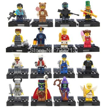 8/16pcs Cartoon Cute Figure Set Nutcracker Cupid SWAT Teutonic Knight Witch Model Building Blocks kits Brick Toys for Children