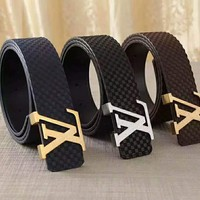 LV Louis Vuitton Fashion Woman Men Smooth Buckle Belt Leather Belt High Quality I-APDPF
