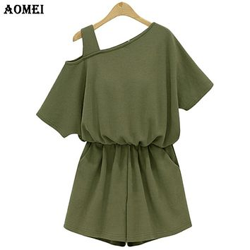 New Summer Women's Play suits Jumpsuit Army Green Cotton Rompers Ladies Sexy Short sleeve Ladies Beach Wear Clothes