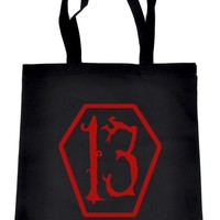 Red Lucky 13 Coffin Tote Book Bag School Goth Punk Occult