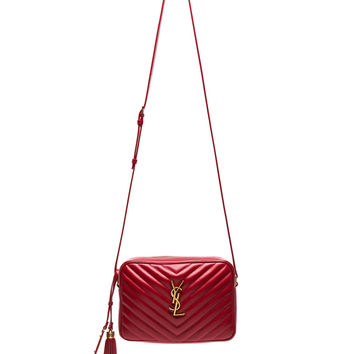 Saint Laurent Medium Monogramme Lou Satchel in Eros Red | FWRD
