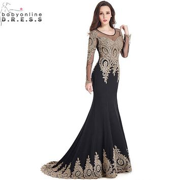 Robe de Soiree Longue Real Kaftan Dubai Black Long Sleeve Mermaid Evening Dresses 2017 Formal Evening Gowns China Vestido Longo