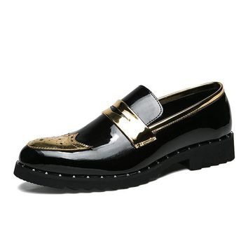 Brogue Black and Gold Men Loafers