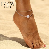 17KM Boho Opal Anklet For Woman Foot Chain Summer Fashion Silver Color Multi Layer Anklets Bracelet Charm Foot Jewelry Gift