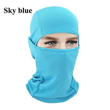 SKY BLUE Winter Outdoor Ski Bibs Snowboard Skiing Full Face Mask Cycling Sport Headgear Tactical Paintball Cap Hat Snowbile Balaclava