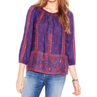 Lucky  Brand Womens Printed Embroidered Peasant Top