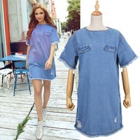 Denim Rip And Fringed Short-Sleeve Shift Dress
