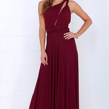 Red Multi way Convertible Wrap Maxi Dress Dresses