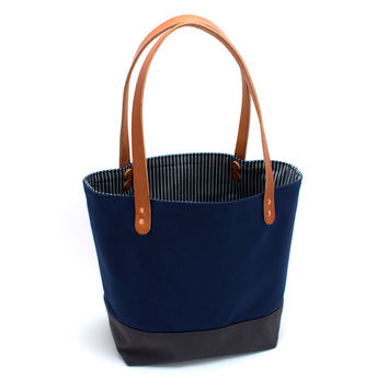 Navy Color-blocked Market Tote with Vintage Ticking Stripe Lining