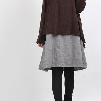 layered long dress brown