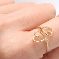 Gold or Sterling Silver Double Heart Ring Adjustable Ring Wire Wrapped Ring 925 Sterling Silver 14kt Gold Filled Rose Gold Ring