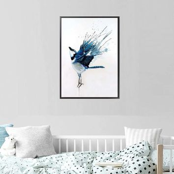 Nordic Fog Forest Birds Landscape Canvas Painting Poster Print Wall Art Picture Living Room Home Office Decor