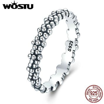 WOSTU Genuine 925 Sterling Silver Vintage Daisies Stackable Rings For Women Fine Jewelry Gift XCH7628
