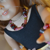 """American Girl and 18"""" Doll 2 pc Glass Bead Necklace and Bracelet"""