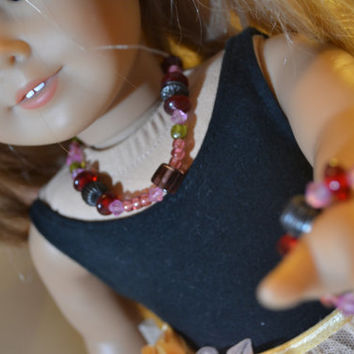 "American Girl and 18"" Doll 2 pc Glass Bead Necklace and Bracelet"