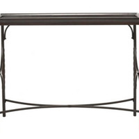 Contemporary Console Table Rectangular Living Room Furniture Dark Walnut Finish