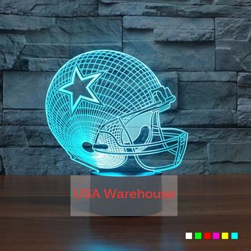 New England Patriots Football NFL 3D Table Lamp Acrylic Helmet Touch 7 Colors Changing Desk Light USB 3D LED NightLight For Kids