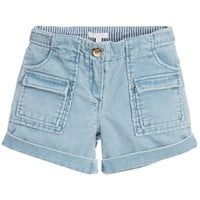Girls Light Blue Corduroy Shorts