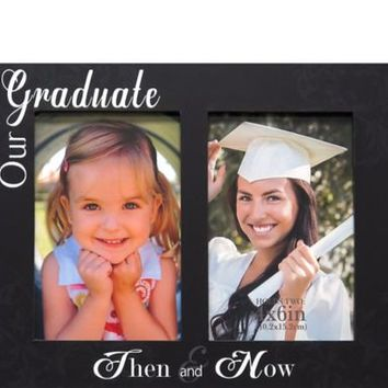 Then & Now Graduation Double Photo Frame 10in x 8in | Party City
