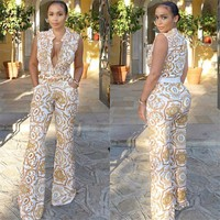 2018 Summer Wide Leg Pant Women Rompers Jumpsuits African Print Clothing Casual Sexy Deep V neck Tunic Party Overalls W333