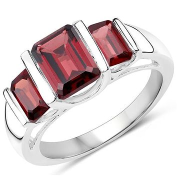 3.45TCW Natural Red Garnet Journey Ring