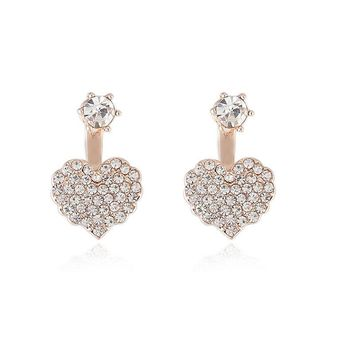 Trendy Crystal Heart Double Side Stud Earrings for Women