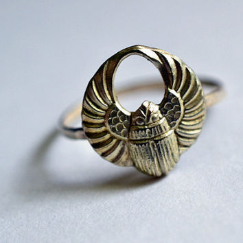 Egyptian Scarab Ring, Silver Scarab Ring, Silver Beetle Ring, Hammered Silver, Sterling Silver Ring, Handforged Ring