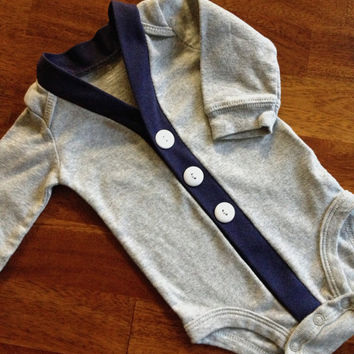 Baby Cardigan One Piece, Grey and Navy Infant Cardigan, Baby Boy, Child Cardigan, Long Sleeve Cardigan, Baby Shower Gift