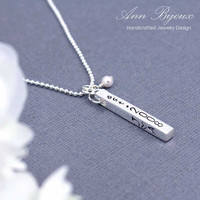 Sterling Silver 4 Sided Bar Necklace, Personalized Necklace, Mommy Necklace, Swarovski Pearl
