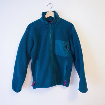 vintage 90's zip up * PATAGONIA * fleece // bright teal & purple // woodsy // hiking clothes // rock climbing // nu grunge
