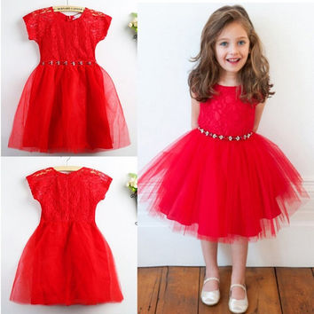 New Toddler Girl Party Pageant Dress Lace Tulle Bubble Tutu Dress One Piece Dress For Baby Girl Clothing