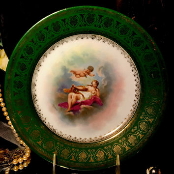 Royal Vienna Hand Painted Porcelain Cherub Plate Signed 1880-1890