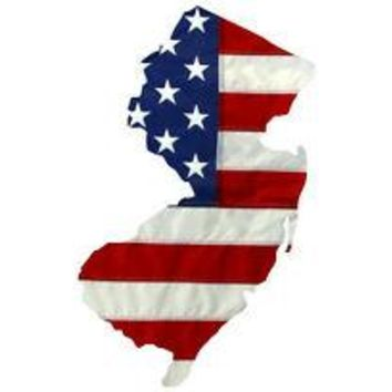 State of New Jersey Realistic American Flag Window Decal - Various Sizes