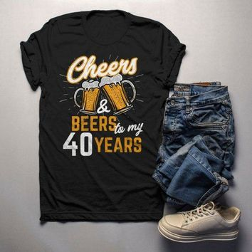 18590777 Men's Funny 40th Birthday T Shirt Cheers Beers Forty Years TShirt Gift Idea  Graphic Tee Beer