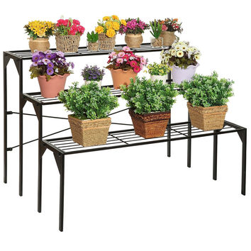 Large Modern Black Metal 3 Tier Shelf Flower Plant Display Stand Rack / Frees...