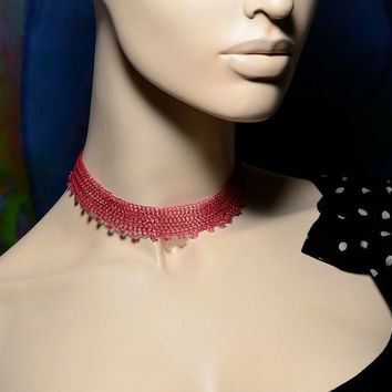 Choker Necklace, Strawberry Red Necklace, Wire Crochet Adjustable Necklace with Venetian Beads Valentines gift
