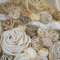 "40 Burlap and Vintage Fabric Flowers for weddings, bouquet making, wedding decor, scrapbooking, gifts, crafts ""READY TO SHIP"""