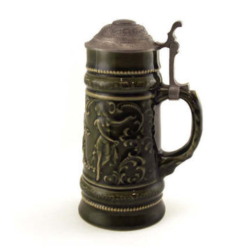 Vintage Beer Stein, Pewter Lid, Musical Lidded 1/2 Ltr Beer Stein, Beer Mug, Man Cave Tavern, Glazed Stein, Collectible,  0.5 Ltr, post war