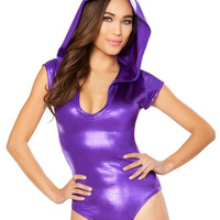 Purple Shiny Short Sleeve Hooded Bodysuit