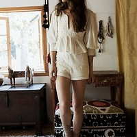 Free People Womens Olvera Embroidered Set