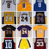 Throwback Mens #24 Kobe Bryant Basketball Jerseys Purple White Black Yellow Retro #8 Kobe Bryant College #33 Jersey Stitched