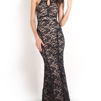 Black Crochet Lace Halter Backless Maxi Dress