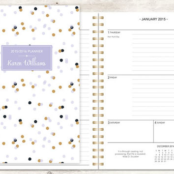 2015 planner | 2015-2016 calendar | custom weekly student planner | personalized planner agenda daytimer | lavender gold confetti