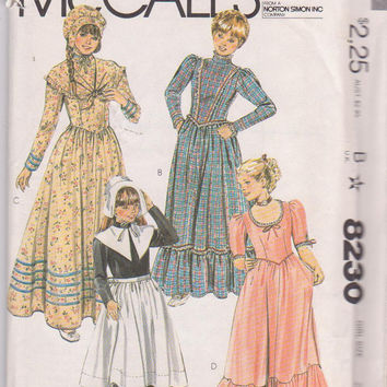 Vintage 1980s pattern for Early America costumes: puritan girl, victorian girl, frontier girl, old west girl size 8 McCall's 8230 UNCUT