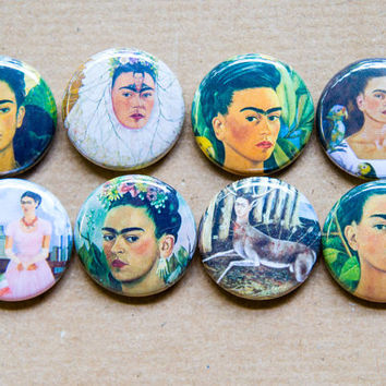 Frida Kahlo buttons, Frida Kahlo magnet set - Kahlo Pinback Buttons, stocking stuffers, gift for her, gifts for artists, Frida Kahlo art