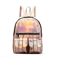 Rose Gold Hologram Dual Pocket Backpack with Rainbow Zipper Back To School